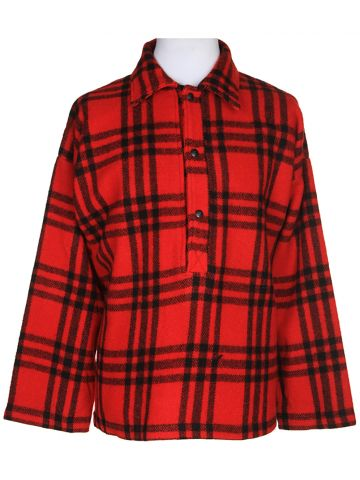"Vintage 60s Red Check Wool CPO Jacket ?€"" M"