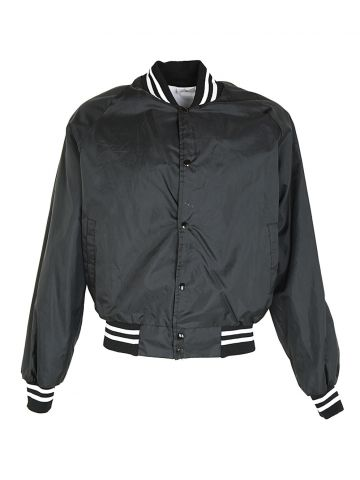 80s Black Nylon Bomber Jacket - L