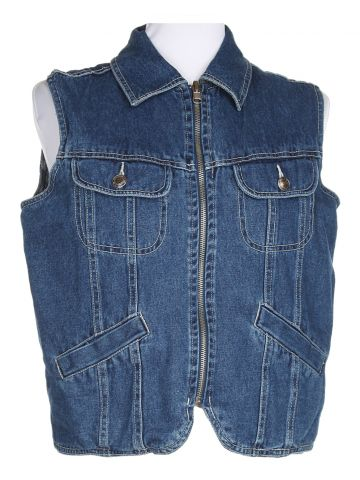 Blue Denim Sleeveless Reversible Jacket - M