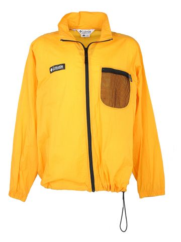 90s Columbia Fishnet Pocket Yellow Packable Windbreaker - L