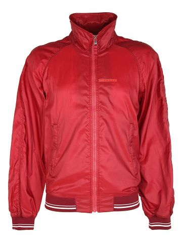 Prada Linea Rossa Red Zip-Up Varsity Windbreaker Jacket - M