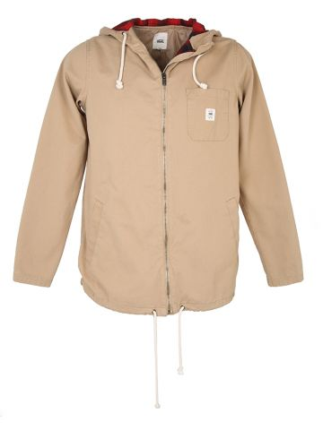 Beige Cotton Hooded Vans Jacket - L