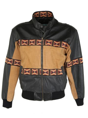 80s Adler Black & Brown Bomber Jacket - S