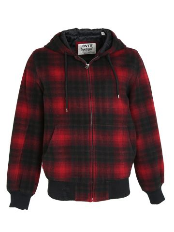 Red & Black Buffalo Plaid Levis Hooded Jacket - S