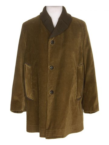 60s Green Corduroy Overcoat - M