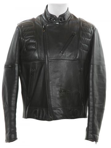 Vintage Schott Black Leather Cafe Racer Biker Jacket - L