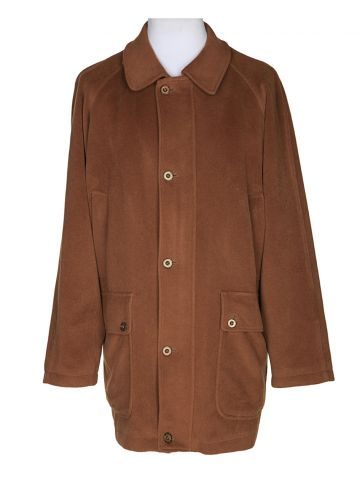 Vintage Burberry Tan Wool Overcoat - L