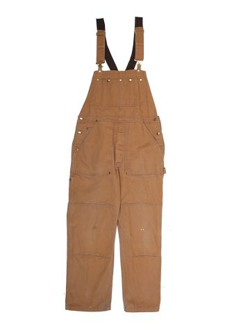 80s Tan Work Wear Dungarees - M