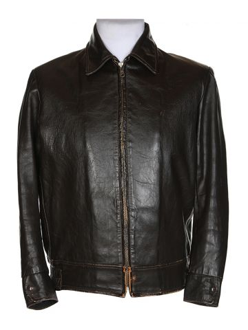 60s Brown Leather Bomber Jacket – L