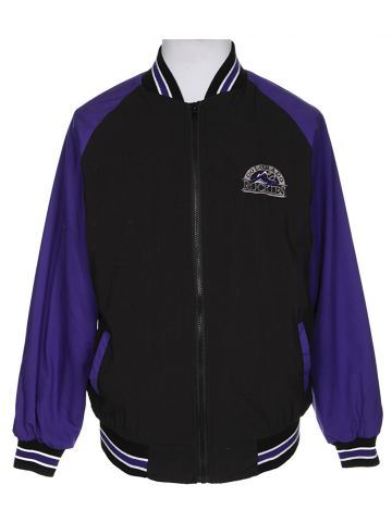 90s Purple Colorado Rockies Shell Bomber Jacket - XL