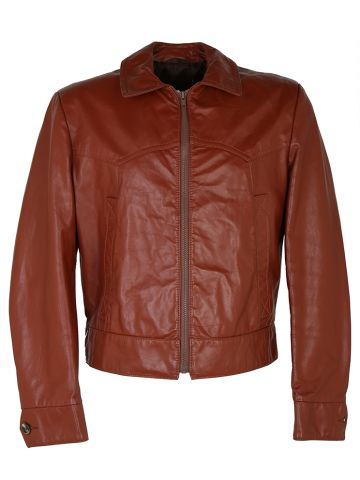 70s Short Brown Leather Jacket - L