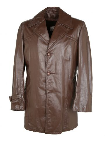 1970s Sears Broiwn Leather Fur Lined Jacket - M
