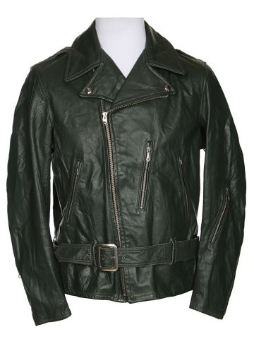 Vintage 60s Shields Green Biker Leather Jacket - L