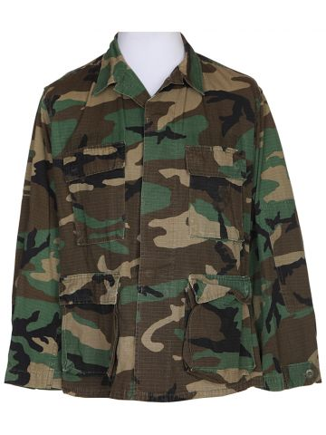 80s Green Camouflage Military Long Sleeved Shirt – M