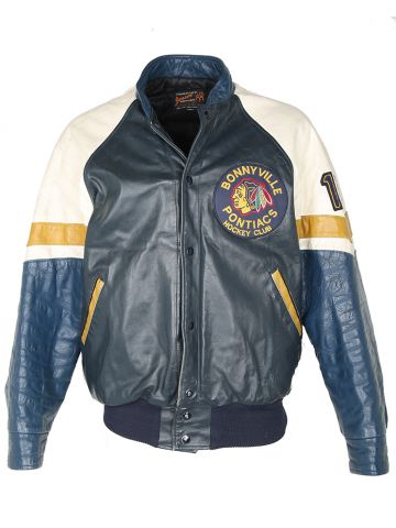 Vintage 80s Leather Bonnyville Pontiacs Hockey Varsity Jacket - L