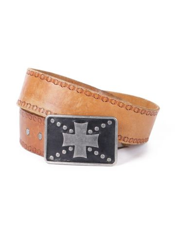 Brown Leather Belt w/ Metal Cross Buckle