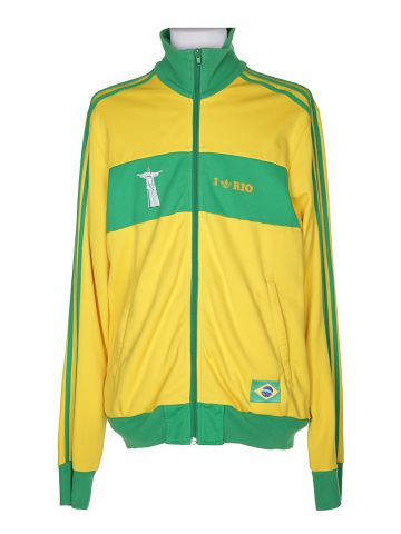 90s Adidas Yellow & Green Track Jacket - S