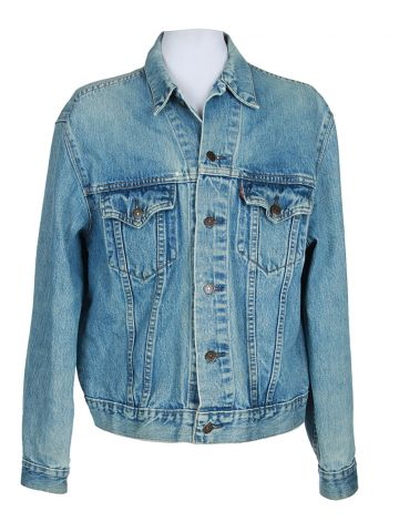 Customized 80s Levi's Blue Denim Jacket - L
