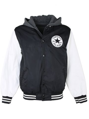 Reversible Converse Baseball Jacket in Black and Grey - L