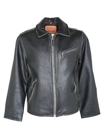 Thick Black Leather Levi's Biker Style Jacket - S