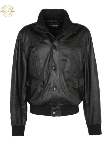 Dolce & Gabbana Black Sheepskin Leather Jacket - XL