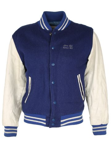 80s Hard Rock Cafe Save The Planet Blue & White Letterman Jacket - L