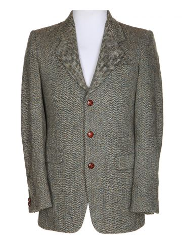 Vntage 80s Green Harrs Tweed Jacket - S