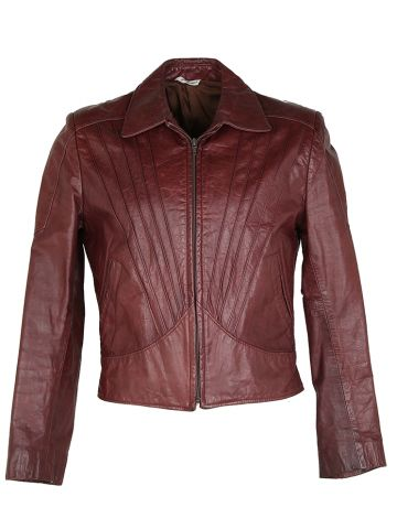 80s Burgundy Leather Hipster Jacket - S