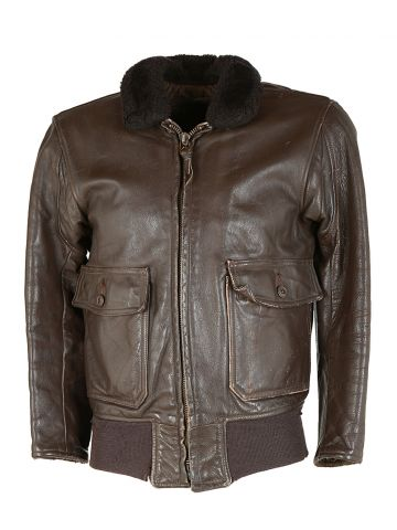 70s US Navy Brown Leather Flying Jacket - S