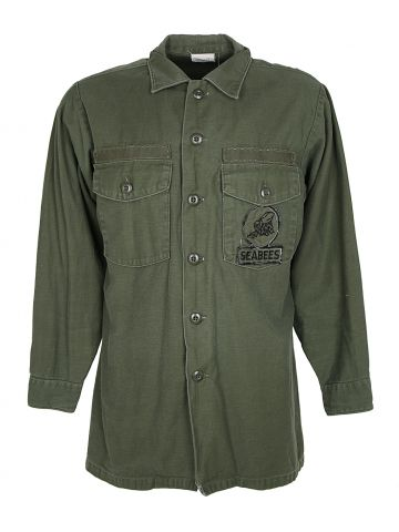 Green OG-107 Vietnam War Era Type Three Shirt w/ Seabees Patch - L