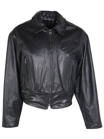Calugi E Giannelli Black Leather Biker Jacket - L