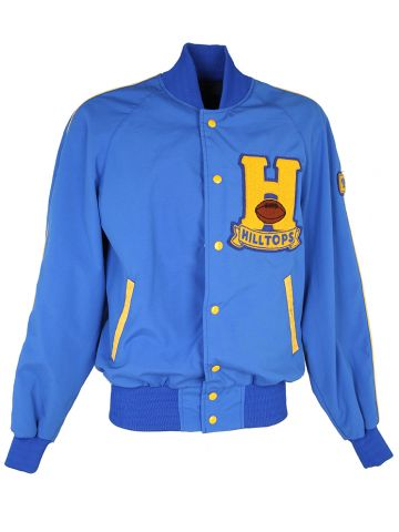 90s Blue Hilltops Waterproof Varsity Letterman Bomber Jacket - XL