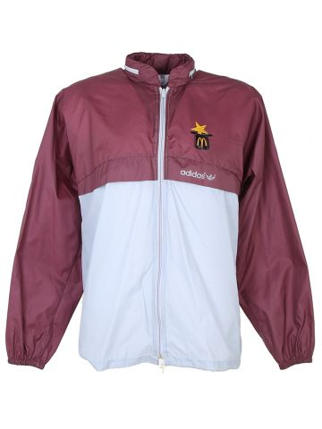 1980s Burgundy and Grey Adidas and McDonalds Windbreaker - M