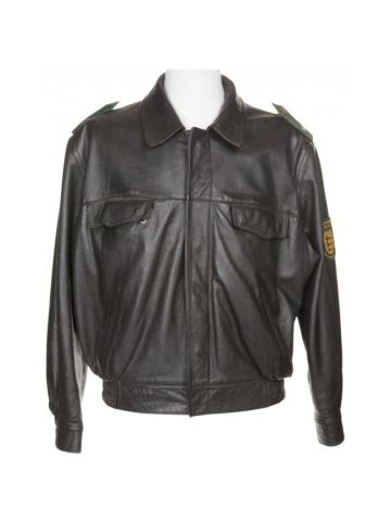 Vintage Black Leather German Police Biker Jacket - L