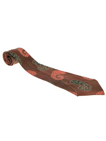 Vintage 50s Brown Abstract Paisley Silk Tie