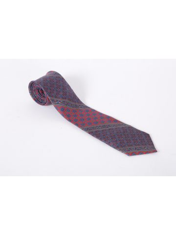 60s Red and Blue Printed Givenchy Tie