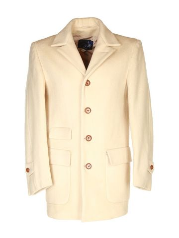 60s Cream Virgin Wool Coat - S