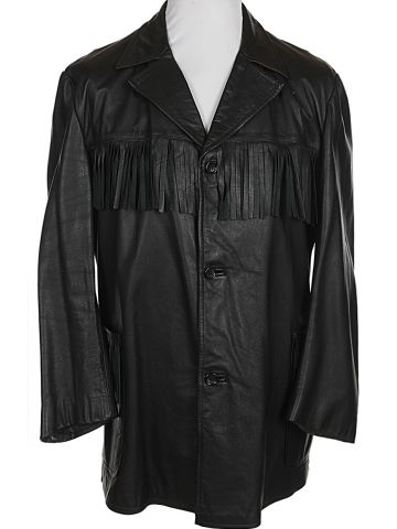 90s Black Fringed Leather Pioneer Jacket