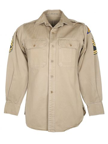 1964 US Army Beige Sergeant First Class Shirt - M