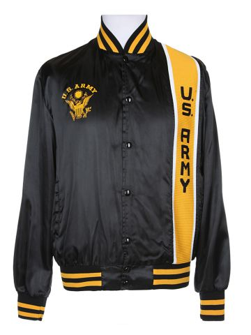70s Black Army Baseball Jacket - M