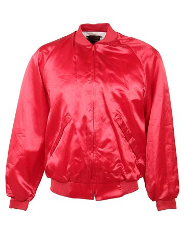80s Pla-Jac 'Bow Tie Bunch' Red Satin Bomber - L
