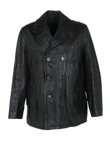 Vintage 60s Black Leather Double Breasted Jacket - L