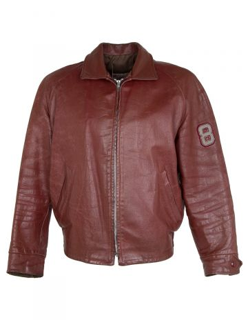 Vintage 80s Leather College Varsity Jacket - L