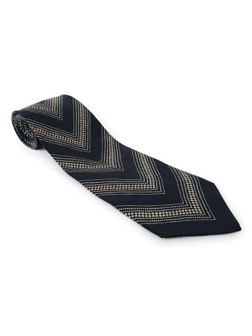 90s Giorgio Armani Black & Grey Stripe Silk Tie