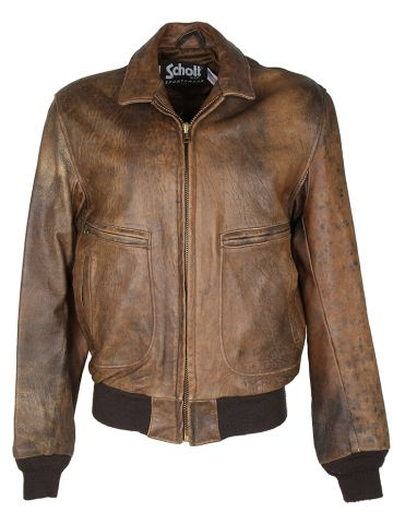 Brown Leather Schott A-2 Flying Jacket - L