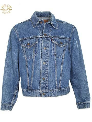 Vintage 60s Embroidered Big E Levis Denim Trucker Jacket - M