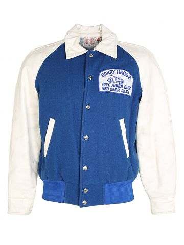 Late 70s Blue Wool Letterman Jacket with Leather Arms - M