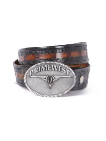Aged Brown & Black Leather Western Belt w/ Primewest Buckle