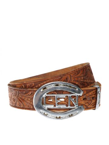 Tan Leather Horseshoe Western Belt