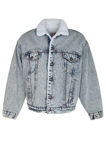 80s Acid Wash Levis Sherpa Denim Jacket - L